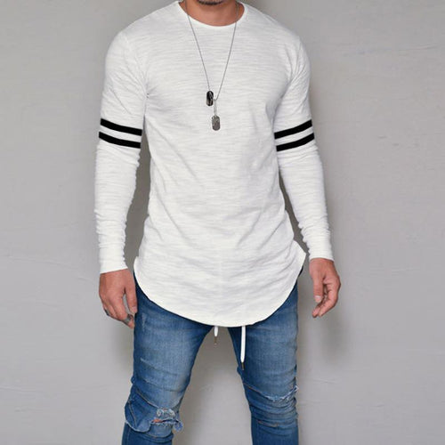 Fashion Casual Long Sleeve Striped Printing T-Shirts