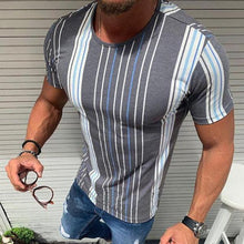 Load image into Gallery viewer, Men's Fashion Colorblock Striped Short-Sleeved T-Shirt