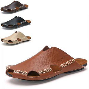 Men's head layer cowhide beach cave casual cool slippers