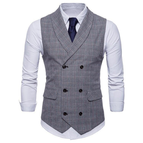 Elegant Business Slim Fit Check Vest