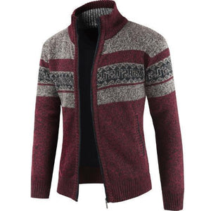 Mens Fashion Lapel Collar Printed Thicken Sweater Coat