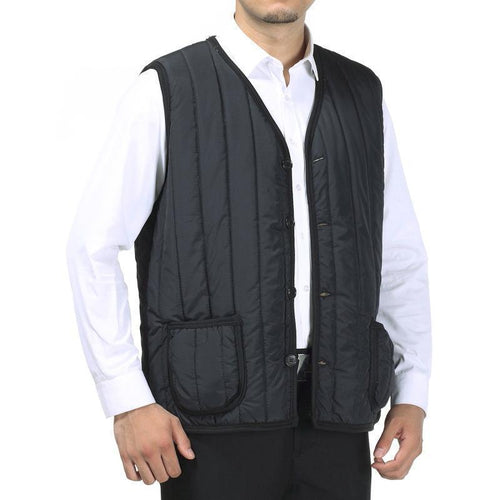 Casual Winter Plain Old Man Floss Vest