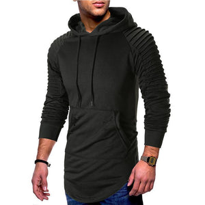 Mens Pleated Sleeve Long Hem Hoodie