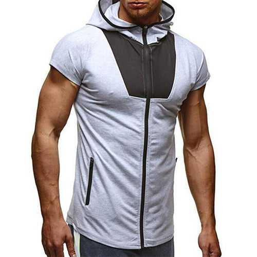 Colorblocked Sports Zipper Hooded Short-Sleeved T-Shirt