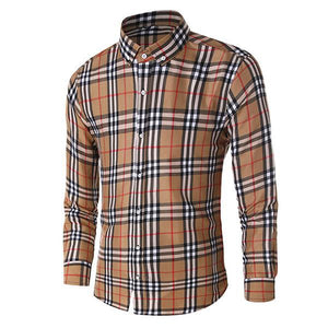 Fashion Men's Basic Style Plaid Long Sleeve Shirts