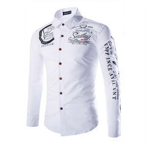 Men's Fashion 7-Color Embroidered Printed Shirt