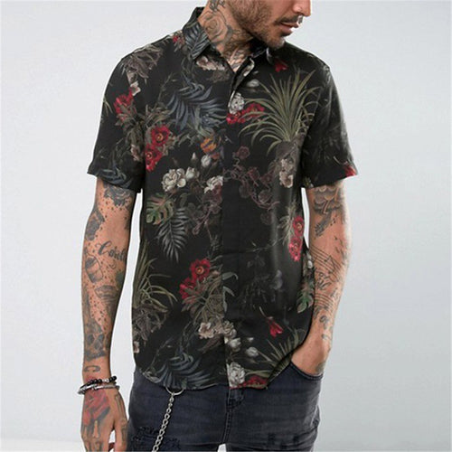 Man's Lapel Printed Casual Short Sleeves Blouse
