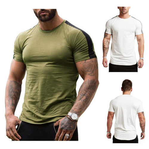 2019 Summer Men's Casual Solid Color Sports Fitness Short-Sleeved   T-Shirt