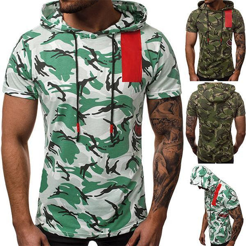 Street Style Camouflage Colorblock Hooded T-Shirt