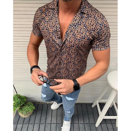 Men's Fashion Floral Short Sleeve Shirt