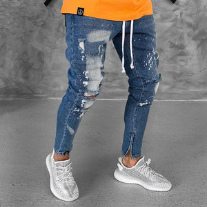 Broken Zippered Foot Fashion   Denim Men's Trousers