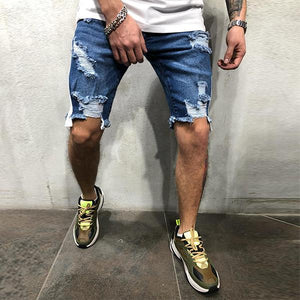 Men's Fashion Webbing Ripped Denim Shorts