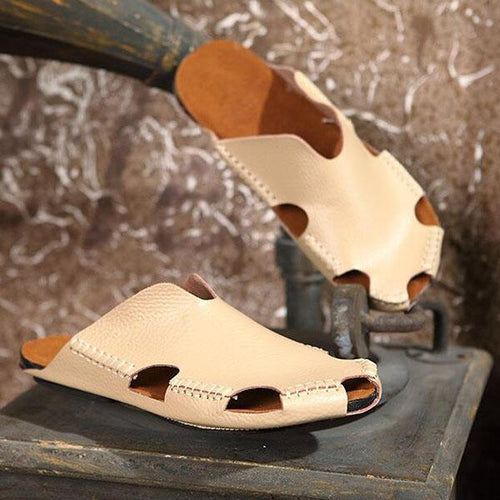 Men's Leather Beach Shoes Casual Trend Handmade Shoes Seaside Slippers Beach Sandals
