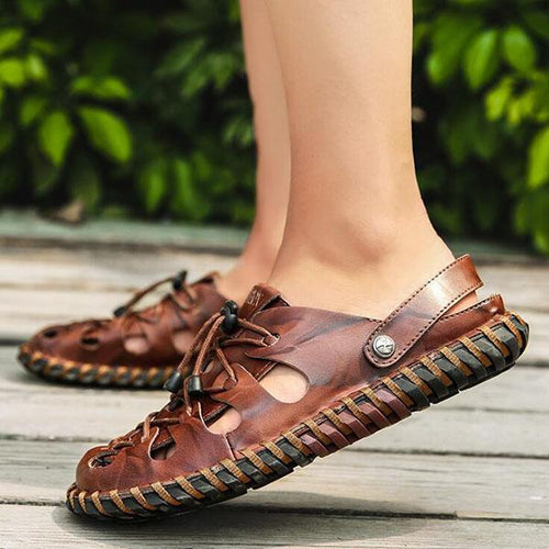 Men's Breathable Hand-Stitched Beach Sandals Leather Fashion Non-Slip Sandals