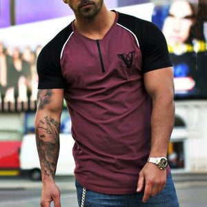 Men's Sportive Casual Contrast Color Round Neck T-Shirt