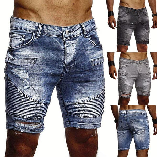 Men's Fashion Ripped Pleated Denim Shorts