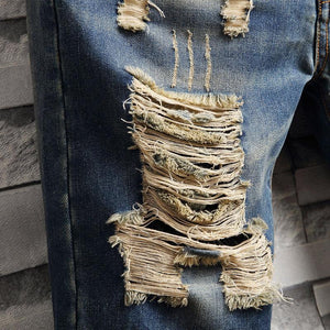 Men's Fashion Individuality Broken Hole Five Points Jeans