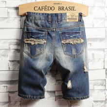Load image into Gallery viewer, Men's Fashion Individuality Broken Hole Five Points Jeans