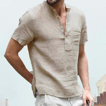 Load image into Gallery viewer, Men's Solid Color Fashion Loose Casual Linen Short-Sleeved Shirt
