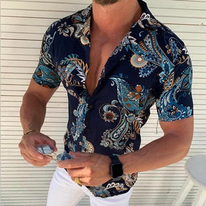 Fashion Turndown Collar Printing Short Sleeve Shirt