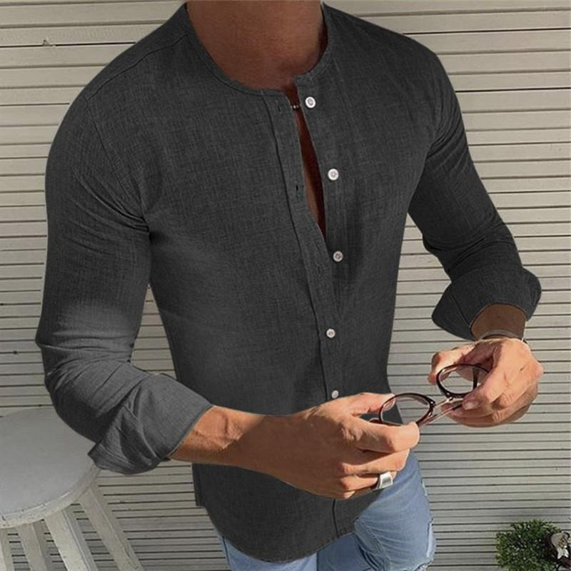Fashion Casual Stand Collar Single-Breasted Long-Sleeved Shirts