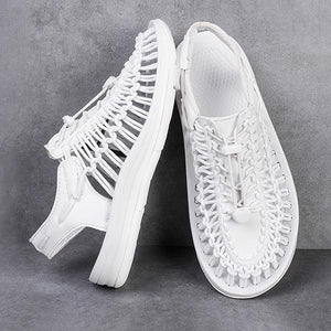 Casual Summer Men's Contrast Color Knitted Shoes Sandals