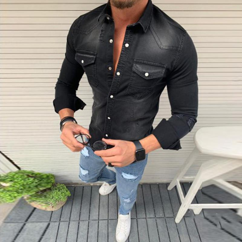 Fashion Fold-Over Collar Single-Breasted Pocket Denim Shirts