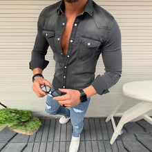 Load image into Gallery viewer, Fashion Fold-Over Collar Single-Breasted Pocket Denim Shirts