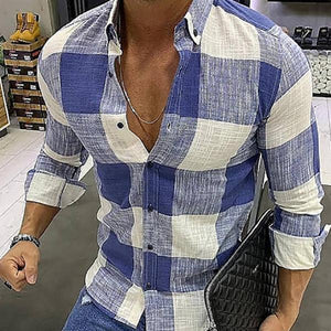 Casual Basic Section Check Slim Fit Shirt