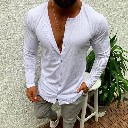 Casual Simple Pure Colour Single-Breasted T-Shirt