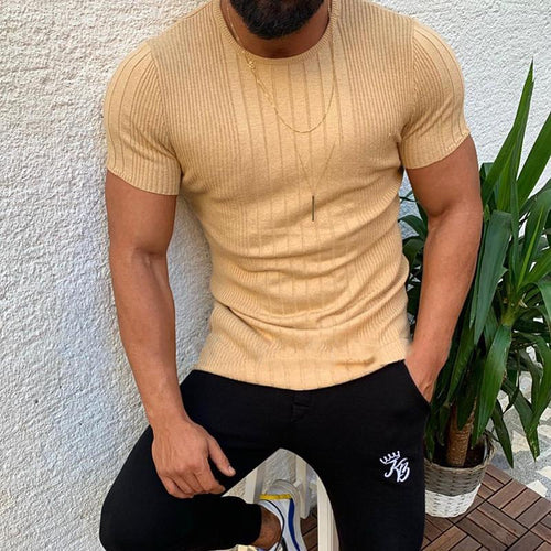 Casual Pure Colour Stripe Round Neck T-Shirt