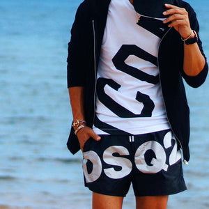 Men's Elastic Waist Letter Printed Casual Shorts