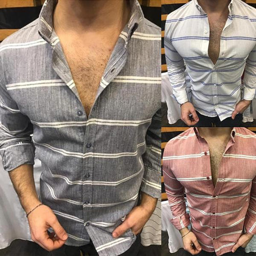 Men's Lapel Long-Sleeved Single-Breasted Striped Shirt