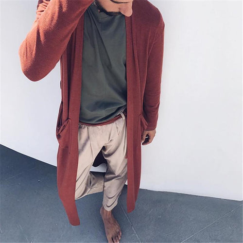 Fashionable Plain Color Casual Pocket Cardigan Windbreakers