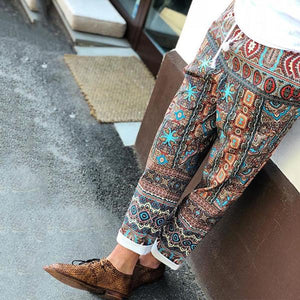Men's National Style Printing Elastic Waist Casual Pants