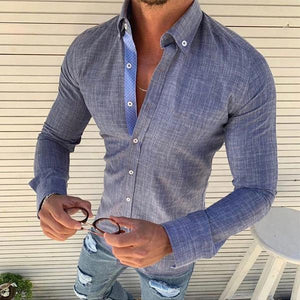 Men's Pure Color Lapel Single-Row Button Casual Shirt