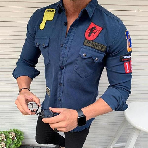 Men's Lapel Long-Sleeved Decorative Patch Casual Shirt