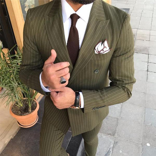 Men's Lapel Double Buckle Fine Striped Suit Outerwear