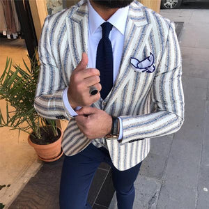 Men's Lapel Long-Sleeved Striped Suit Outerwear