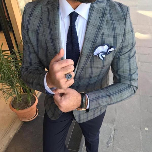 Men's Lapel Single Buckle Long Sleeve Lattice Suit Outerwear