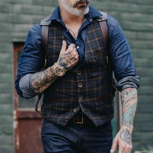 Casual Classic Plaid Men's Vest