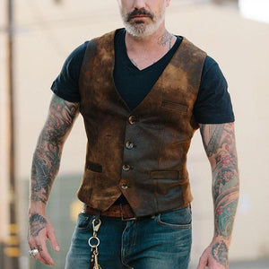 Men's Single Breasted Pocket Vest