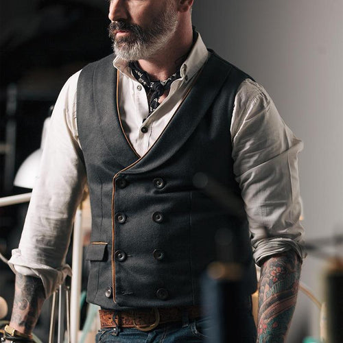 Men's Pure Color Lapel Double Buckle Vest
