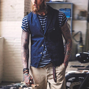 Fashion Pocket Design Denim Vest