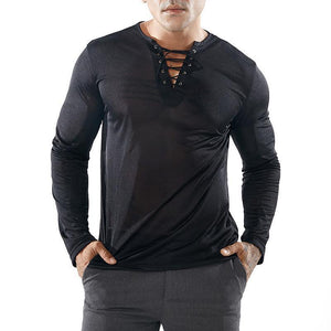 V-neck slim tether design full mesh long-sleeved T-shirts