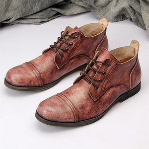 Men's vintage color casual leather shoes