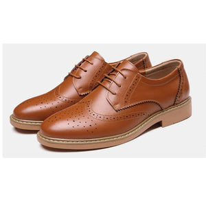Men's carving Block Business casual leather shoes