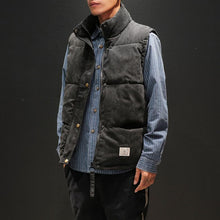 Load image into Gallery viewer, Fashion pure color corduroy stand up collar vest