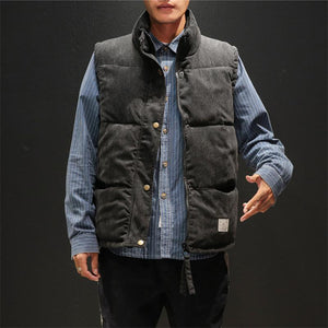 Fashion pure color corduroy stand up collar vest