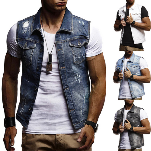 Men's Plus Size Washed Hole Cowboy Vest